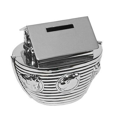 Silver Plated Baby's Noah's Ark Money Bank Box  Baby Gift