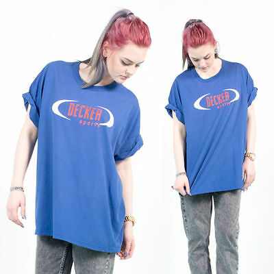 Vintage 90's Nineties Blue Crew Neck Sports Oversize Retro Hipster T-Shirt 16 18