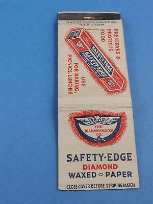 Safety Edge Diamond Waxed Paper Vintage Diamond Matchbook Advertising
