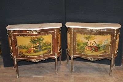 Pair Antique French Vernis Martine Painted Chests Cabinets Lacquer Commode