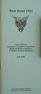 West Point Class Of 1951 Roster/officers/exec Committee/reg Reps, 1989 Booklet