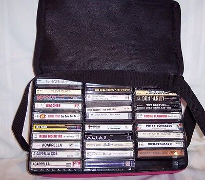 Approx. 80 Cassette Tapes With Case '80S Rock & Other - Good Condition