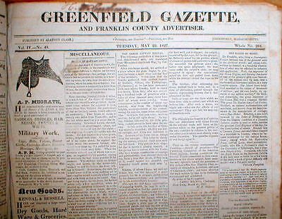 1827 bound volume of newspapers GREENFIELD GAZETTE Franklin County MASSACHUSETTS