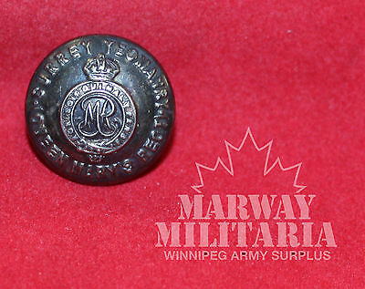 Queen Mary's, Surrey Yeomanry Silver metal OFFICER'S Uniform BUTTON  (inv 7763)