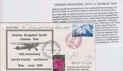 Stamps Australia & USA on 75th Kingsford Smith & Ulm flight, signed cover sons