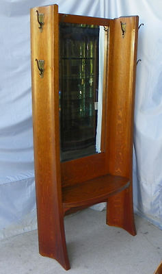 Antique Mission Oak Hall Tree with original hooks Full Length Mirror