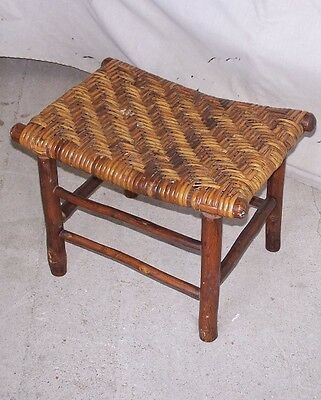 Antique Old Hickory Signed Footstool or Ottoman