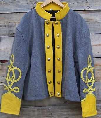 civil war confederate reenactor cavalry shell jacket with 4 row braids 42