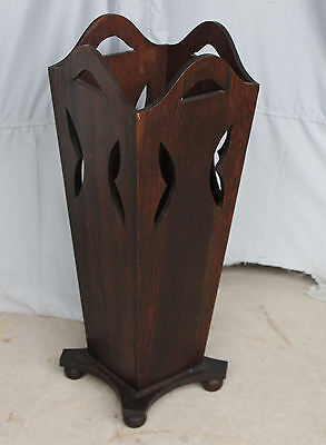 Antique Mission Oak Umbrella Stand with cut Out Designs - Arts & Crafts
