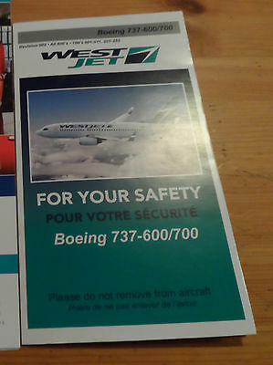1x Westjet Safety Cards Boeing 737- 600/700 Airplane Airline Card Revision 002