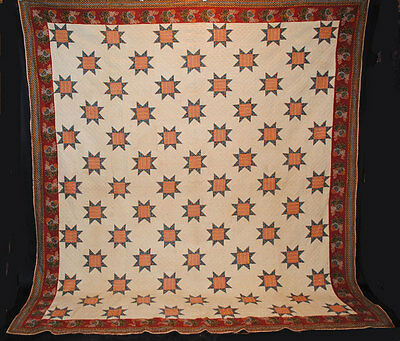 "ANTIQUE QUILT 1820 STAR CYLINDER ROLLER FLORAL PRINTS  105-1/2"" x 97-1/4"""