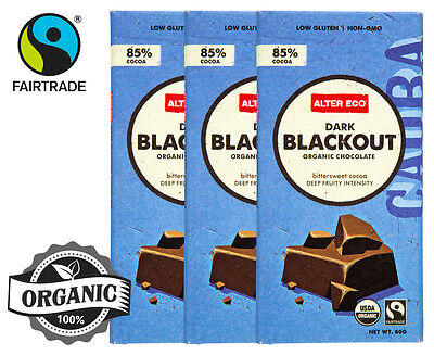 3 x Alter Eco Dark Blackout Organic Chocolate 80g