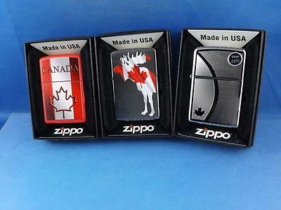 Canada Zippo Lighter Lot 3 Canada Souvenir Travel Maple Leaf Moose New Gift Box