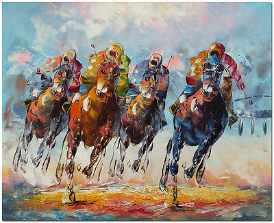 """Hand Painted Horse Racing Oil Painting On Canvas 24x20"""" - Impressionist Wall Art"""