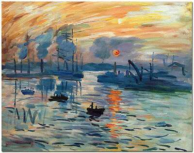 Sunrise Landscape - Hand Painted Claude Monet Oil Painting On Canvas Wall Art