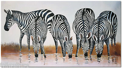 Hand Painted Zebra Oil Painting On Canvas-  Contemporary Animal Wall Art