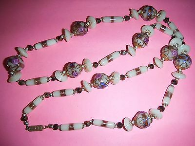 Vintage Venetian Art Glass Bead Necklace Gorgeous Wedding Cake Lampwork