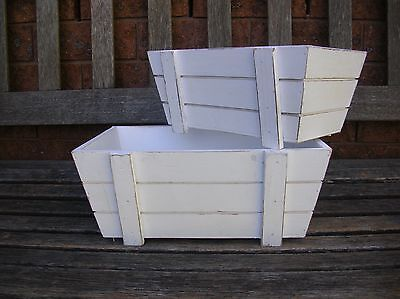 Set Of 2 White Wooden Country Crate Storage Box