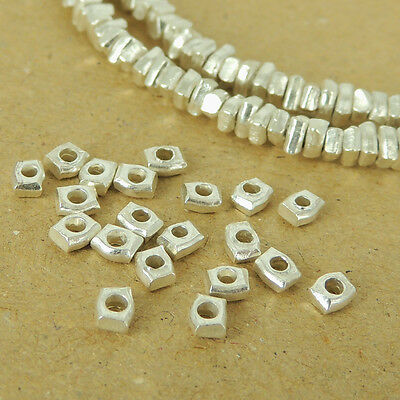 925 Sterling Silver Nugget Beads Solid Handmade from Thailand Vintage WSP492