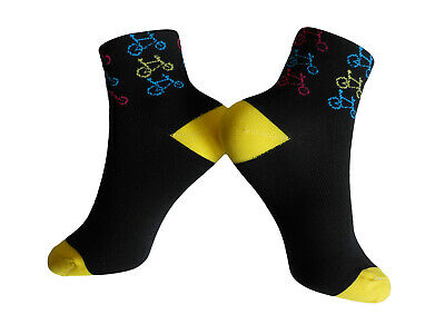 Socks Cycling Womens Summer Breathable EU 38 - 42 Black with Bike Logos