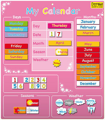 Large Magentic Calendar learn the days, date, months, seasons, weather - pink