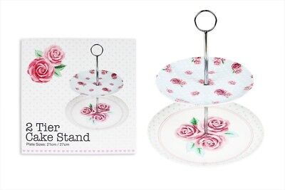 2 Tier Cake Stand Afternoon Tea Rose Design Wedding Plates 20cm & 26.5cm
