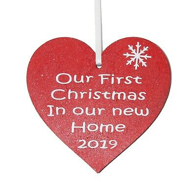 Our First Christmas in our New Home 2016 - Red heart Christmas tree decoration