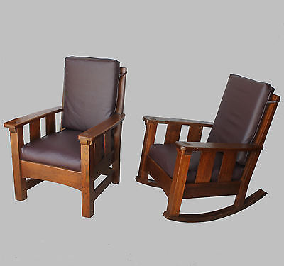 Limbert Set – Antique Mission Oak Rocking Chair and Gentlemans Arm Chair Arts &