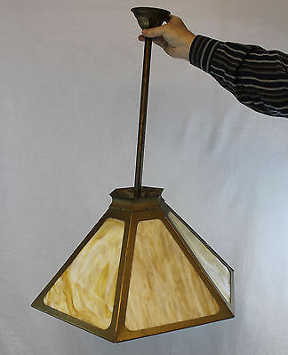 Arts & Crafts Hexagon Slag Glass Carmel Ceiling Hanging Shade Light Fixture