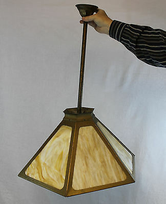 Arts & Crafts Hexagon Slag Glass Carmel colored Hanging Shade Light Fixture Ceil