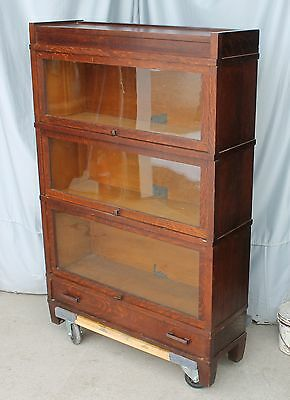 Antique Oak Mission Arts & Crafts Sectional Three High Bookcase –Globe Wernicke