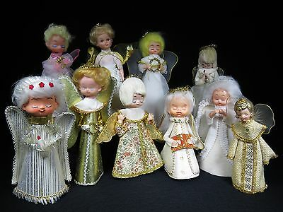 VINTAGE HEAVENLY ANGELS WINGED GROUP of 10 TALL CHRISTMAS DECORATION ORNAMENTS