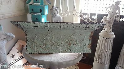"Antique Tin Ceiling Tile Shelf 3.5"" RECLAIMED 44"" *Salvage Video* Mint Green"