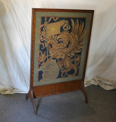 Antique Oak Fireplace Screen Insert - Tapestry Insert -