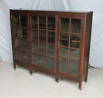 Antique Mission Oak Three Door Bookcase – with pane windows - Arts & Crafts