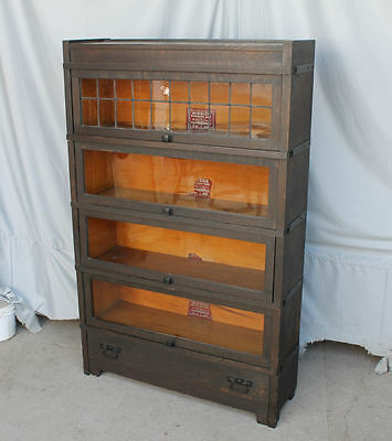 Antique Mission Oak four sectional Bookcase leaded glass – Globe Wernicke