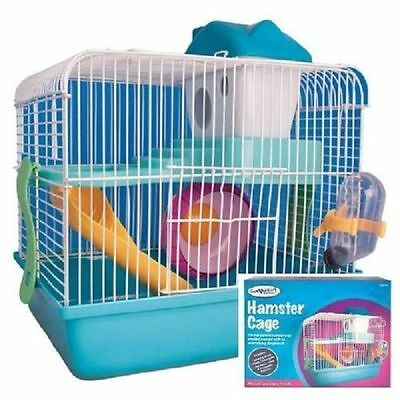 Syrian Dwarf Hamster Gerbil Mouse Small Pet Cage 2 Floor With Wheel House Carry