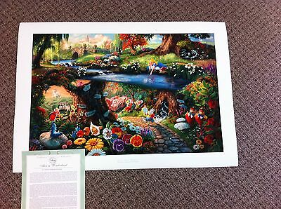 "Thomas Kinkade ""Alice in Wonderland "" Signed & Numbered Disney Lithograph"