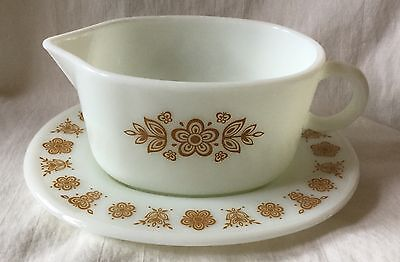 Vintage Pyrex Golden Butterfly Gravy Boat With Matching Underplate