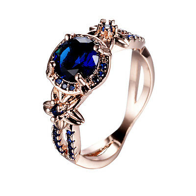 Vintage Round Cut Blue Sapphire Wedding Ring 10KT Rose Gold Filled Band Size5-11