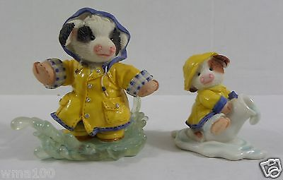 Enesco Mary's Moo Moos Lot 2 Figurines Mooing in Rain & When It Rains It Pours