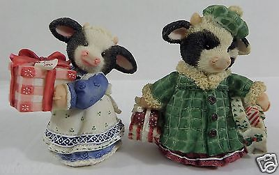 Enesco Mary's Moo Moos Lot 2 Figurines Shop Til Cows Come Home & A Gift For Moo