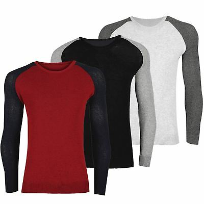 Mens Crew Neck Reglan Sweater Knitted Contrast Sleeve Stretch Ribbed Cuff Jumper