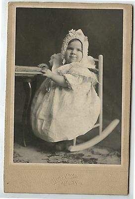 Antique Cabinet Photo Young Child in rocking Chair Waltham Mass
