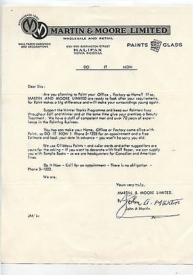 Old 1950's Letterhead Martin & Moore Paints Glass Halifax NS
