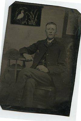 Antique Tintype Photo Young Man w/ Hooked Mat of Stork on Wall