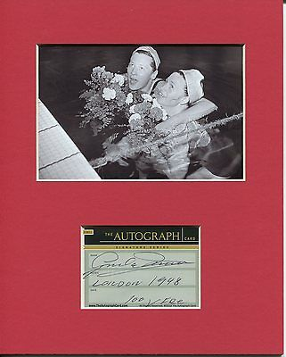 Greta Andersen Denmark 1948 Olympic Gold Swimmer Signed Autograph Photo Display