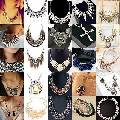Women's Crystal Pendant Chain Collar Statement Bib Necklace Jewelry