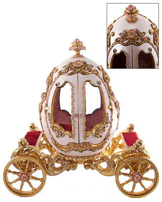 28-628142 Katherine's Collection Princess Gilded Golden Egg Stage Coach Carriage