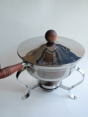 Vintage Stainless Steel Chrome Round Footed Chafing Dish Wood Handle Knob Retro